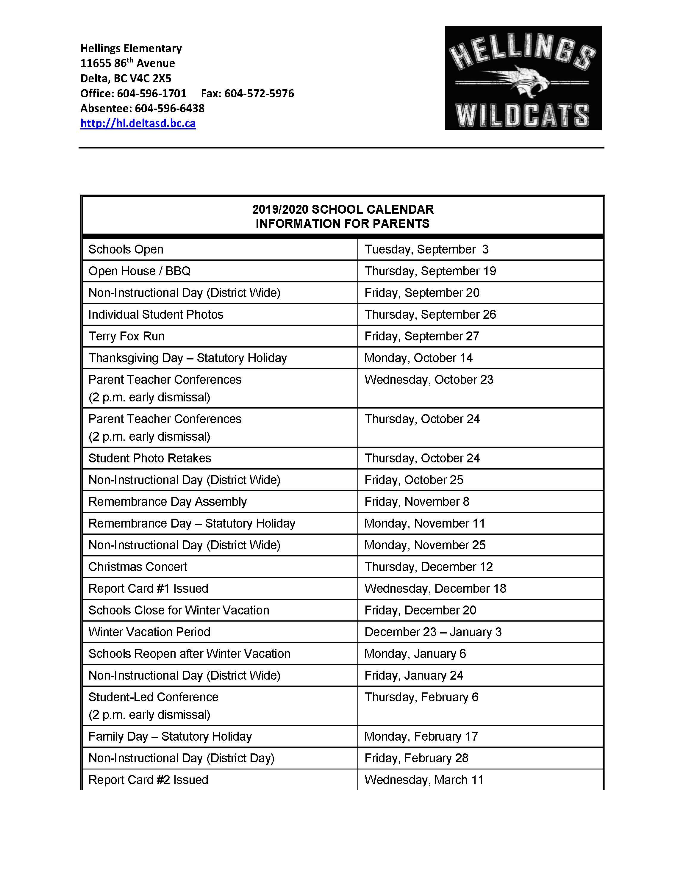 Calendar Tuesday December 18 2020 School Calendar 2019 2020   Hellings Elementary
